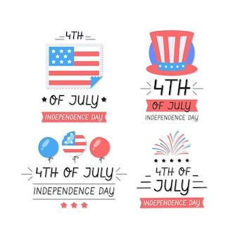 Dessiné à la main le 4 juillet - collection de badgde de la fête de l'indépendance