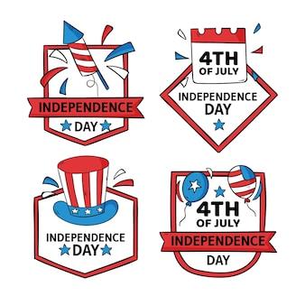 Dessiné à la main le 4 juillet - collection de badges de fête de l'indépendance