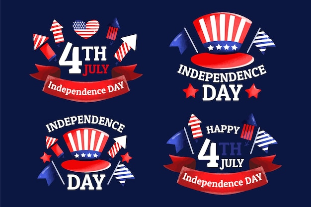 Dessiné à la main le 4 juillet - collection d'étiquettes de la fête de l'indépendance