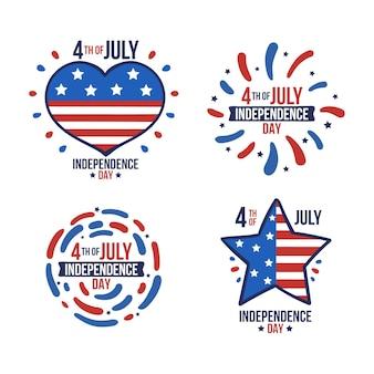 Dessiné à la main le 4 juillet - collection d'insignes de la fête de l'indépendance
