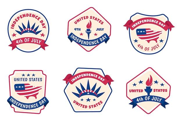 Dessiné à la main le 4 juillet - étiquettes du jour de l'indépendance
