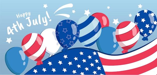Dessiné à la main le 4 juillet - fond de ballons de fête de l'indépendance