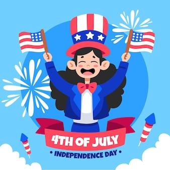 Dessiné à la main le 4 juillet - illustration de la fête de l'indépendance