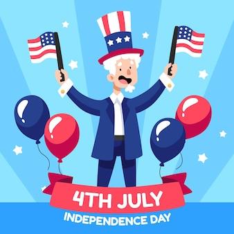 Dessiné à La Main Le 4 Juillet - Illustration De La Fête De L'indépendance Vecteur gratuit