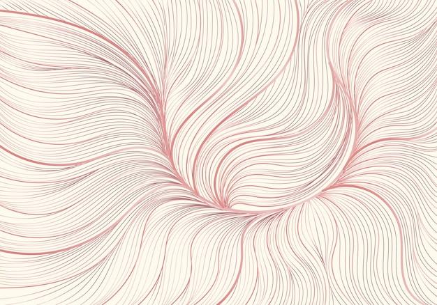 Dessiné à la main abstrait or rose doublé.