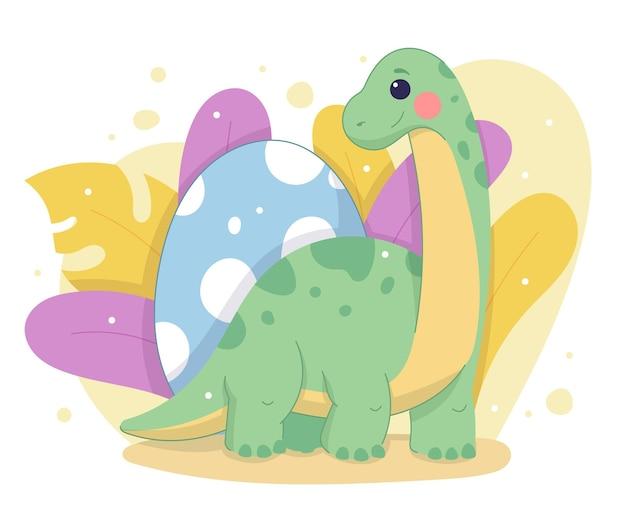 Dessiné à la main adorable bébé dinosaure illustré