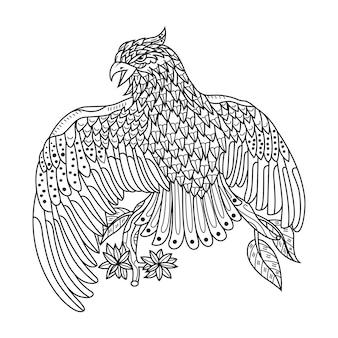 Dessiné à la main d'aigle dans un style zentangle