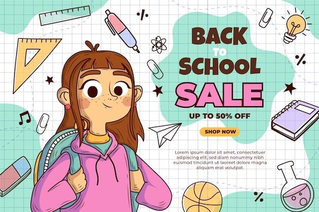 Dessiné à la main à l'arrière-plan de la vente de l'école