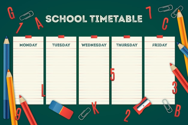 Dessiné à la main au calendrier scolaire