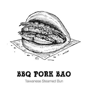 Dessiné à la main bao, pain de porc barbecue taïwanais,