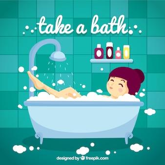 Dessiné à la main belle jeune fille de prendre un bain