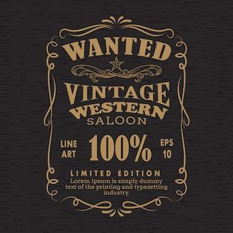 Dessiné à la main cadre étiquette tableau noir rétro vintage voulu bannière ve