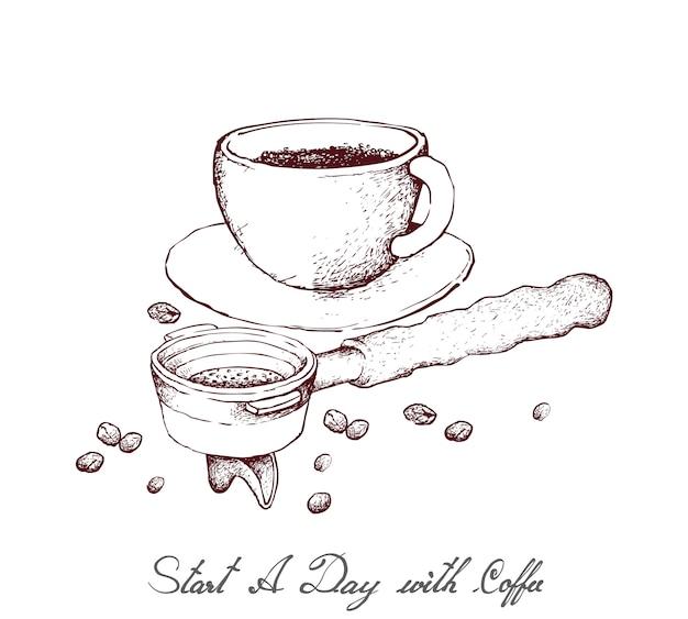 Dessiné à la main de café chaud avec porte-filtre