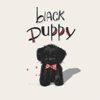 Dessiné à la main d'un chiot mignon avec un lettrage dessiné à la main, un chiot noir peut être utilisé pour les enfants ou les bébés