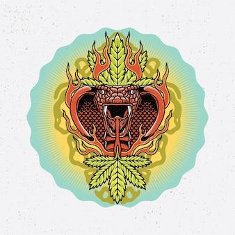 Dessiné à la main de cobra royal et de feuille de marijuana avec un style de tatouage à l'ancienne