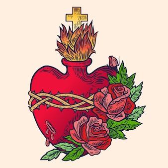 Dessiné à la main de coeur sacré