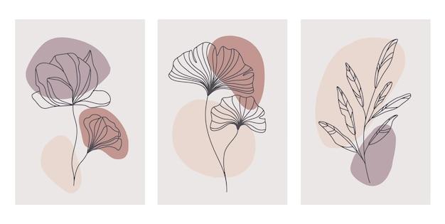 Dessiné à la main contemporaine. ligne continue, modèles botaniques minimalis.