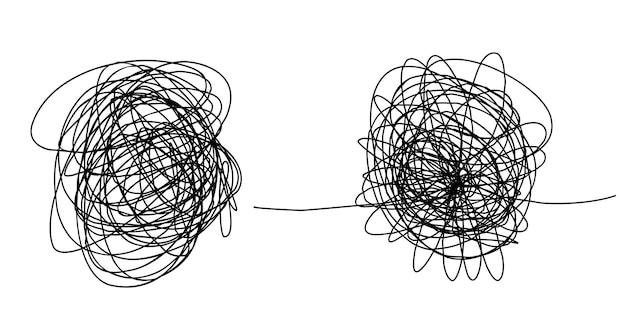 Dessiné à la main d'un croquis de griffonnage enchevêtré. griffonnage abstrait, motif de doodle chaos isolé sur fond blanc. illustration vectorielle