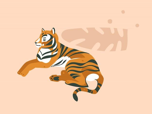 Dessiné de main dessin animé abstrait graphique moderne african safari nature concept collage illustrations art carte avec animal tigre et feuilles de palmier tropical isolé sur fond de couleur pastel