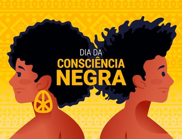 Dessiné à la main dia da consciencia negra