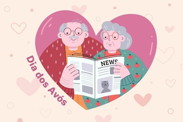 Dessiné à la main dia dos avós avec vieux couple