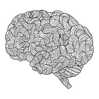Dessiné à la main du cerveau dans le style zentangle