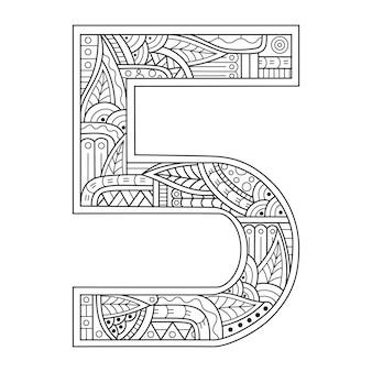 Dessiné à la main du numéro cinq dans le style zentangle