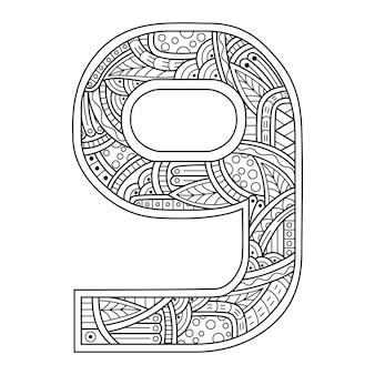Dessiné à la main du numéro neuf dans un style zentangle