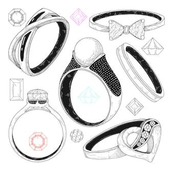 Dessiné à la main un ensemble de différents anneaux de bijoux.