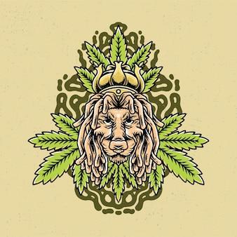 Dessiné à la main de feuille de lion et de marijuana avec un style de tatouage old school