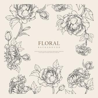 Dessiné à la main fond floral avec espace de texte