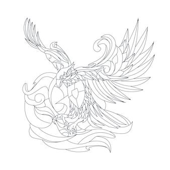 Dessiné à la main garuda indonésien isolé sur blanc