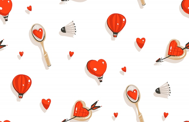 Dessiné de main happy valentines day concept illustrations modèle sans couture avec raquette de badminton, cookies isolé sur fond blanc