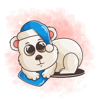 Dessiné à la main d & # 39; illustration de sommeil ours polaire