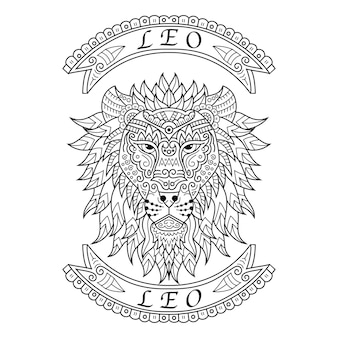 Dessiné à la main de lion dans un style zentangle