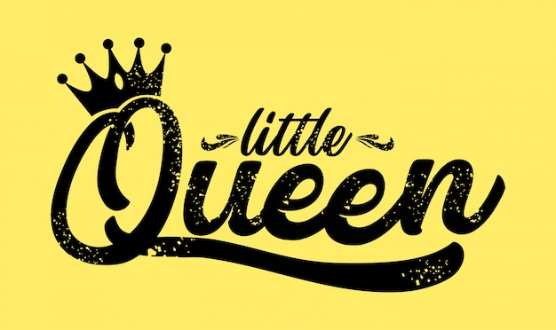 Dessiné à la main de little queen avec couronne