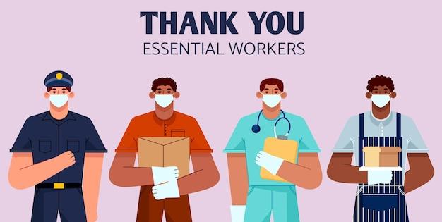 Dessiné à la main merci les travailleurs essentiels