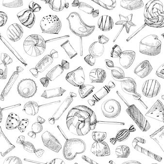 Dessiné à la main un modèle sans couture avec différents bonbons. illustration vectorielle d'un style de croquis.