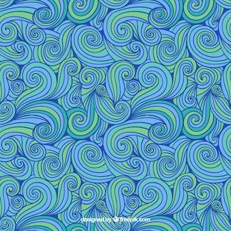 Dessiné à la main motif abstrait dans des tons bleus et verts