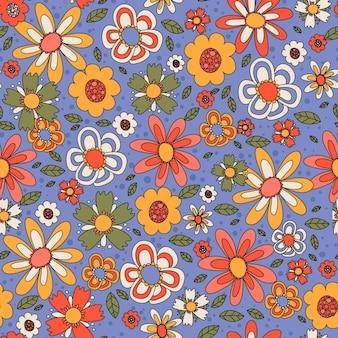 Dessiné à la main motif floral groovy coloré