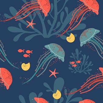 Dessiné à la main un motif plat simple répétitif sans couture avec des méduses