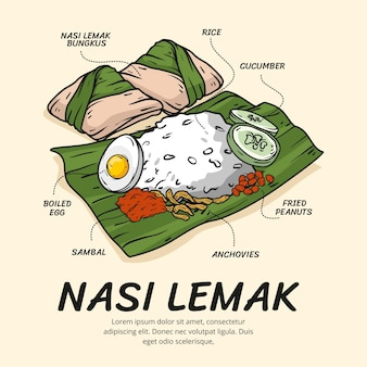Dessiné à la main nasi lemak illustré