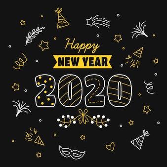 Dessiné à la main nouvel an 2020