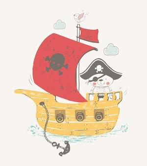 Dessiné à la main d'un petit ours pirate dans un bateau pirate, un ours en peluche peut être utilisé pour les enfants