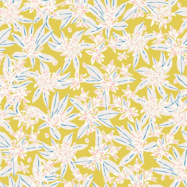 Dessiné à la main petite fleur blanche et motif d'illustration de feuille motif de répétition sans soudure fichier numérique