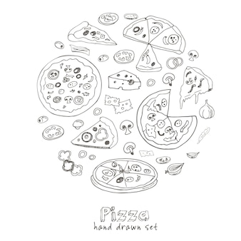 Dessiné à la main avec pizza