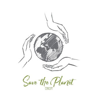 Dessiné à la main save the planet esquisse de concept