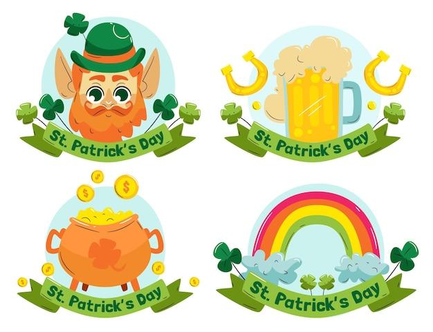 Dessiné à la main st. collection de badges patrick's day
