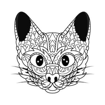 Dessiné à la main de tête de chat dans un style zentangle