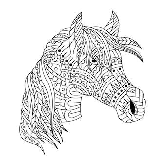 Dessiné à la main de tête de cheval dans un style zentangle